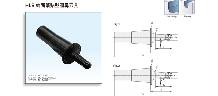 HBL FACE CONTACT TYPE BALL NOSE FINISH END MILL CUTTER